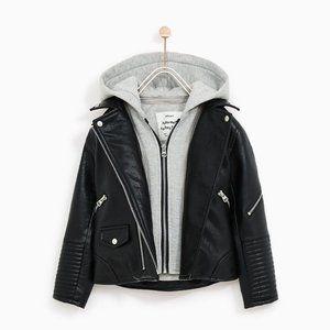 Zara Faux Leather Hooded Moto Jacket